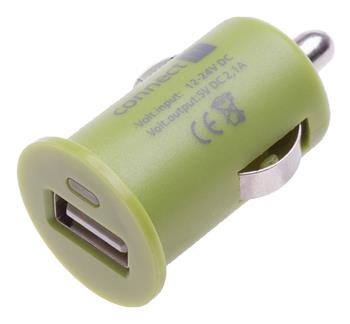 CONNECT IT auto adaptér 1xUSB 2,1A, zelený