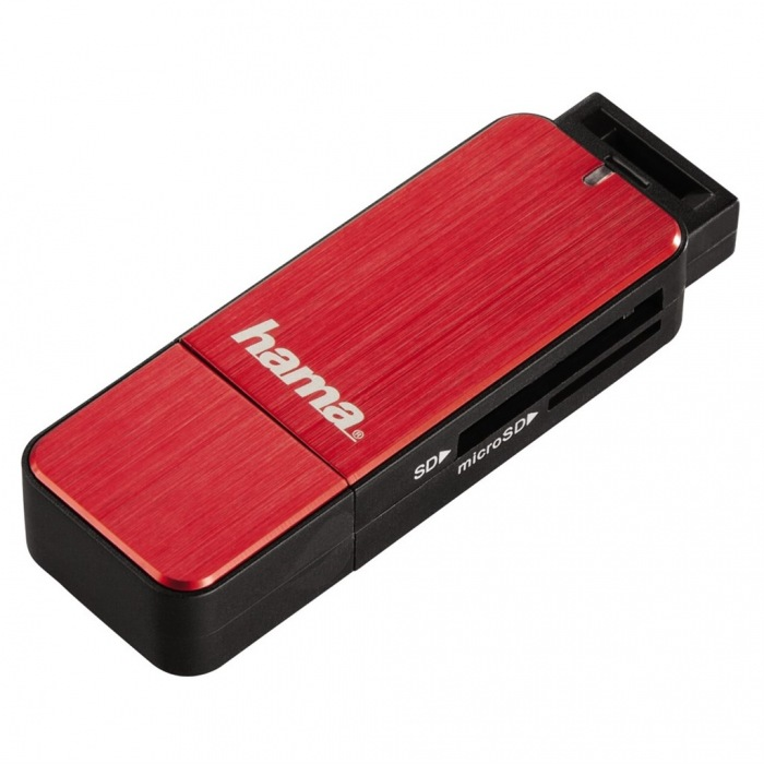 USB 3.0 SD/microSD Card Reader, red