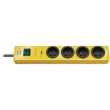hugo! 4-way extension socket with surge protection, yellow