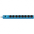 hugo! 8-way extension socket with surge protection, blue