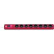 hugo! 8-way extension socket with surge protection, rubin-red