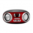MANTA MM210 - Boombox stereo přehrávač s USB, FM, AUX, displej, 2 x 3W, red/black.