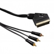 Video kabel SCART vidlice - 3 cinch vidlice AV, IN/OUT, 1,5m